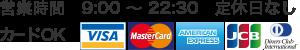 営業時間 9:00 〜 22:30 定休日なしカードOK