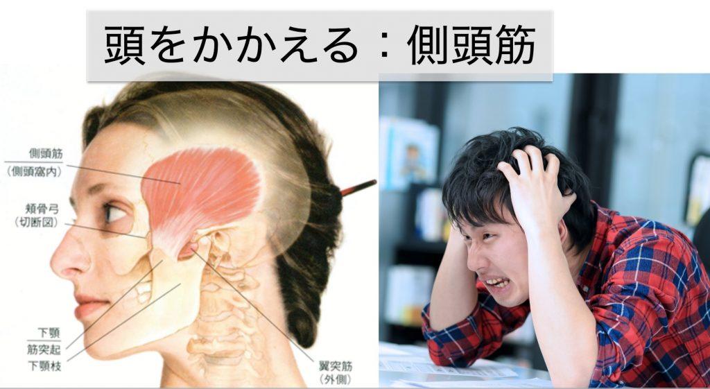 頭をかかえるのが側頭筋マッサージ